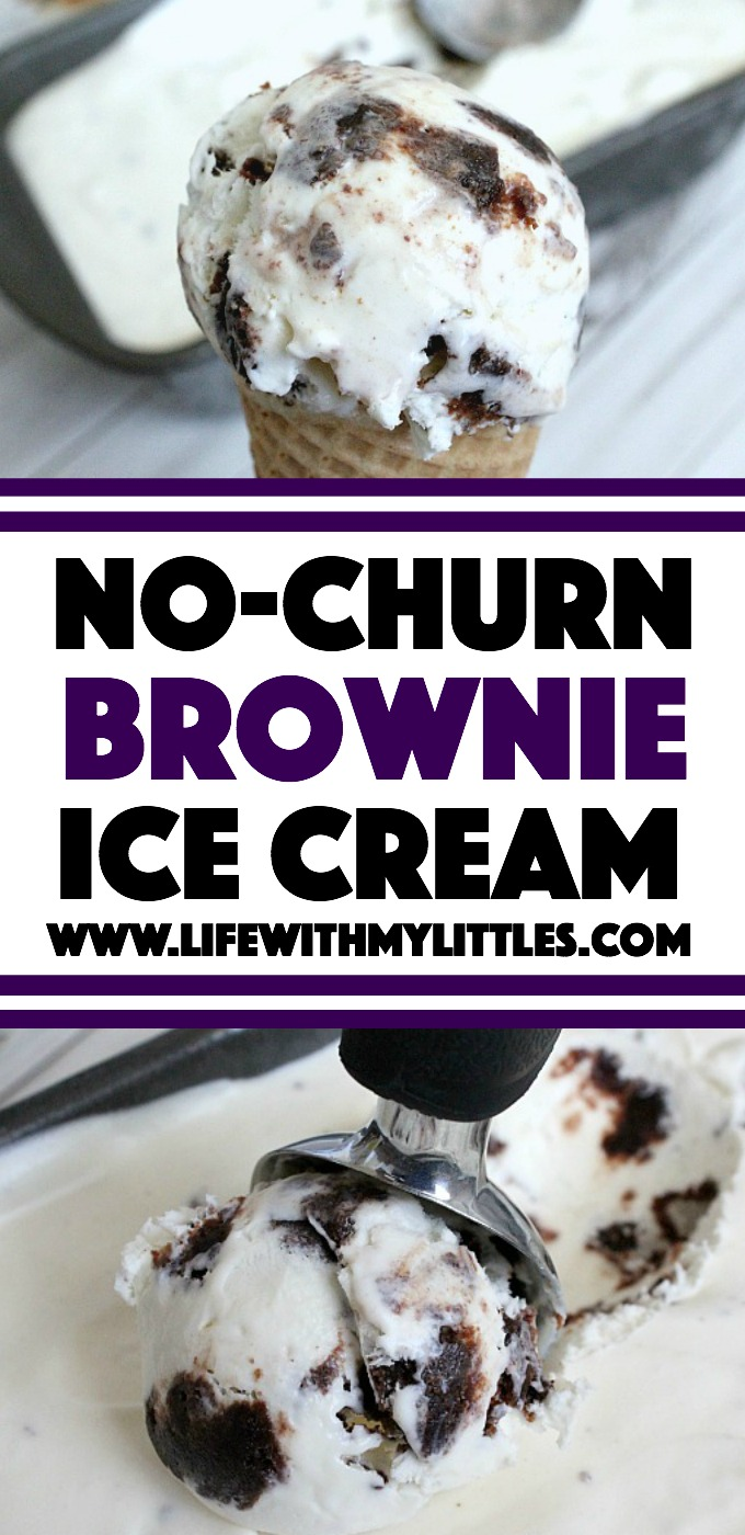 This no-churn brownie ice cream is super easy and so fudgy! The perfect treat for summer!