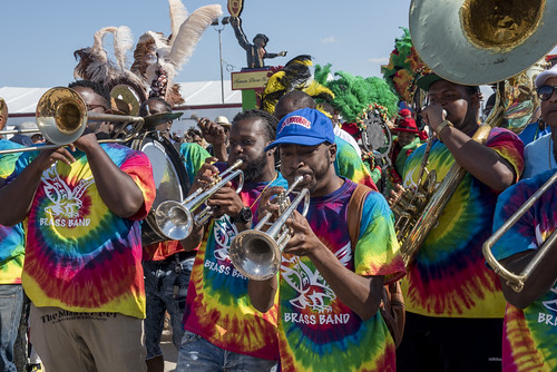 Free Agents Brass Band during Jazz Fest day 1 on April 27, 2018. Photo by Ryan Hodgson-Rigsbee RHRphoto.com