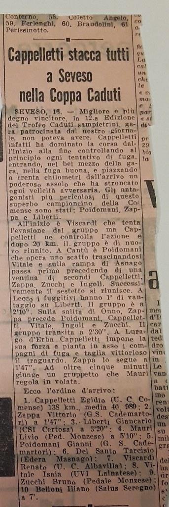 Cappelletti stacca tutti a Seveso nella Coppa Caduti (articolo Gazzetta dello Sport) (materiale inviato dalla figlia Silvia)