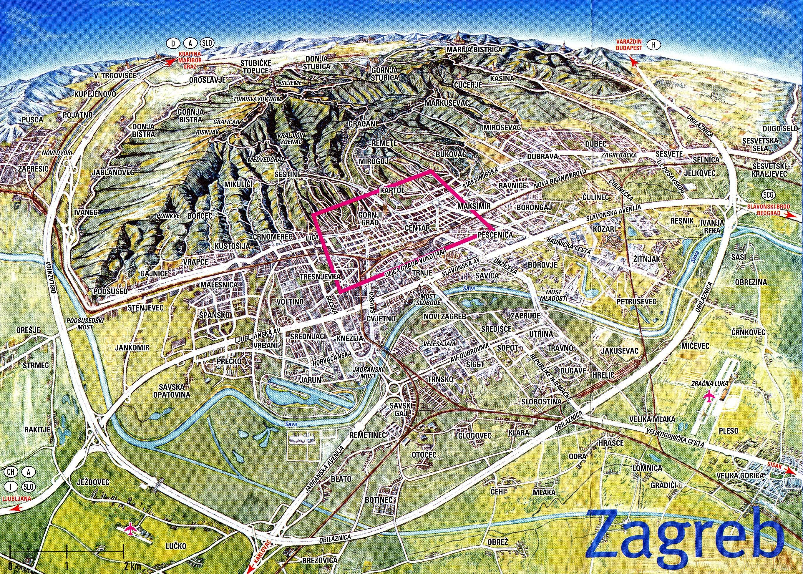 Map of Zagreb, Croatia