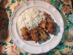 Belizean stew chicken with white rice. Homemade.