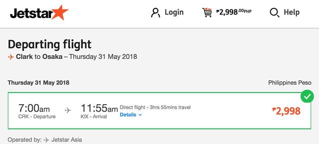 Clark to Osaka Jetstar May 31, 2018
