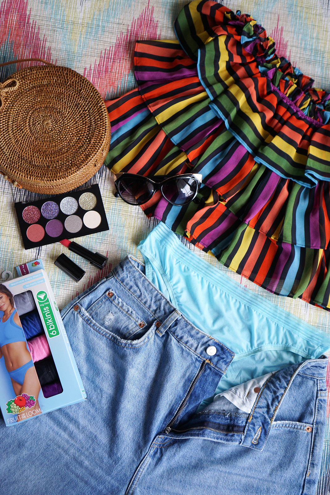 Peeling Back the Layers of Spring Fashion with Fruit of the Loom Colorful Outfit Flat Lay Living After Midnite Jackie Giardina