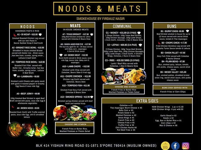 Noods & Meats Menu
