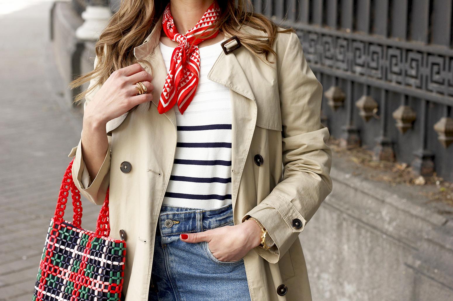 trench outfit denim skirt kitten heels striped sweater spring 14