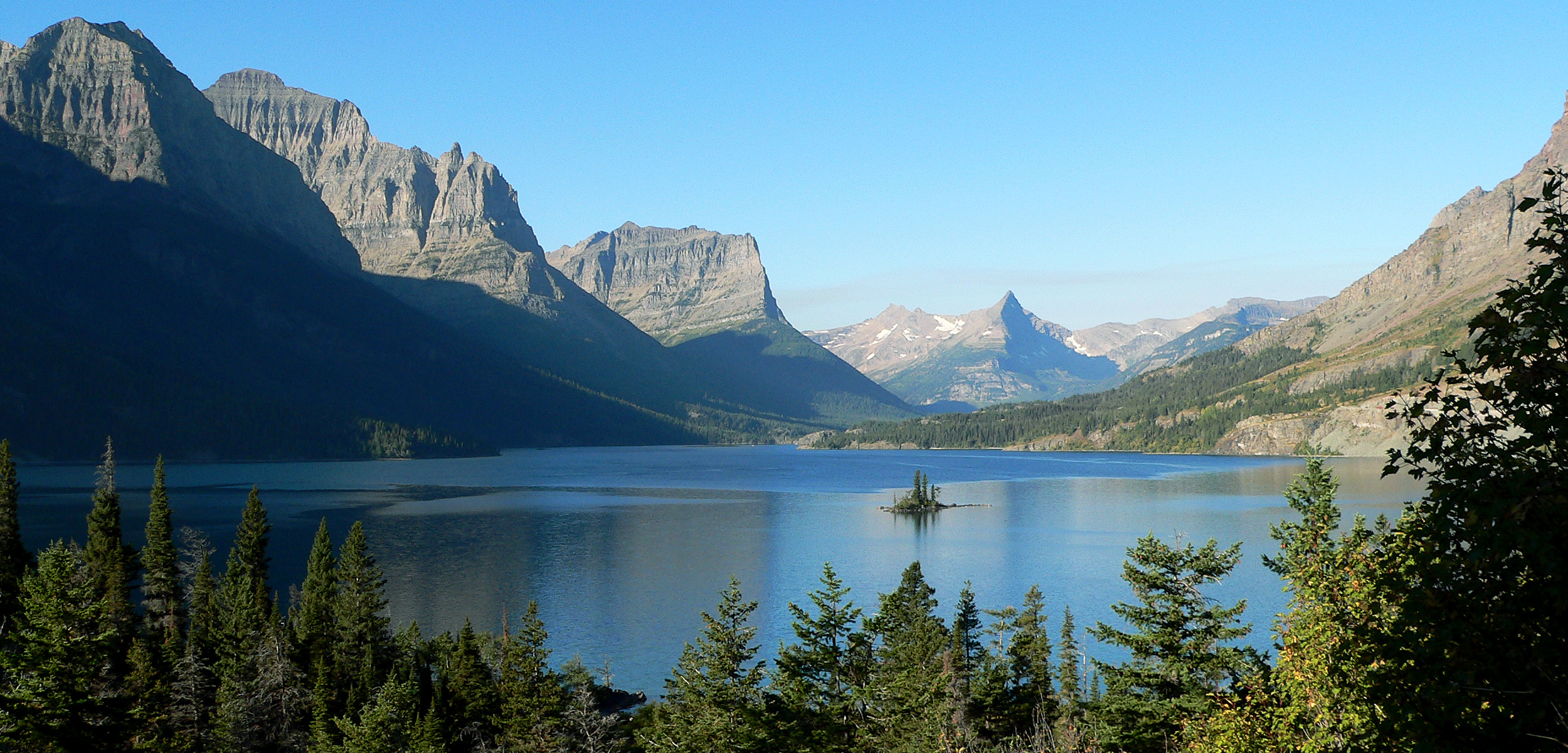 The upper end of St. Mary Lake and Wild Goose Island, Glacier National Park, Montana. Photo taken from Going-to-the-Sun Road by Ken Thomas on September 11, 2006.