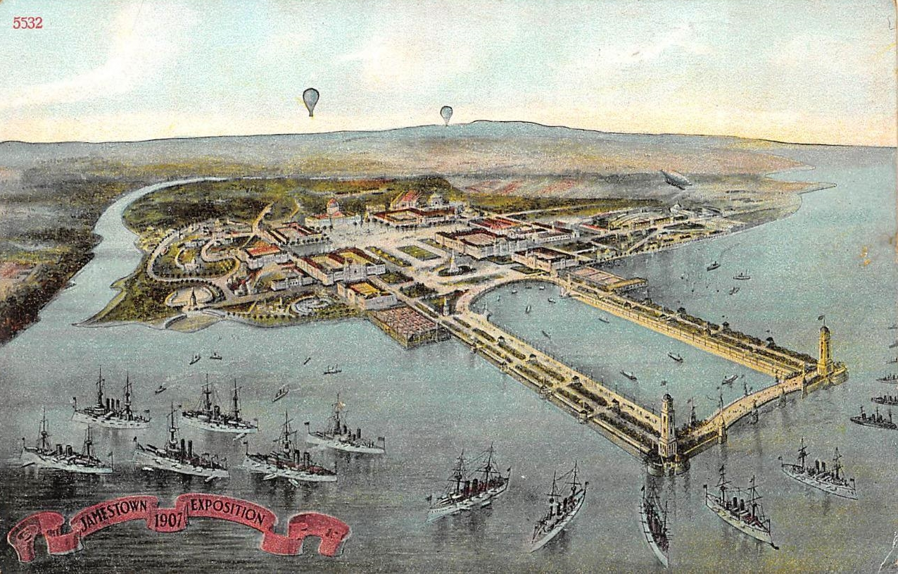 Postcard showing an aerial view of the 1907 Jamestown Exposition at Norfolk, Virginia.