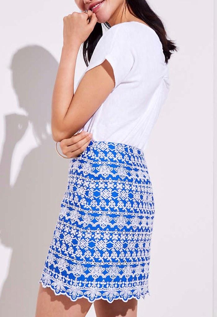 LOFT Eyelet Stripe Shift Skirt