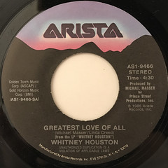 WHITNEY HOUSTON:GREATEST LOVE OF ALL(LABEL SIDE-A)