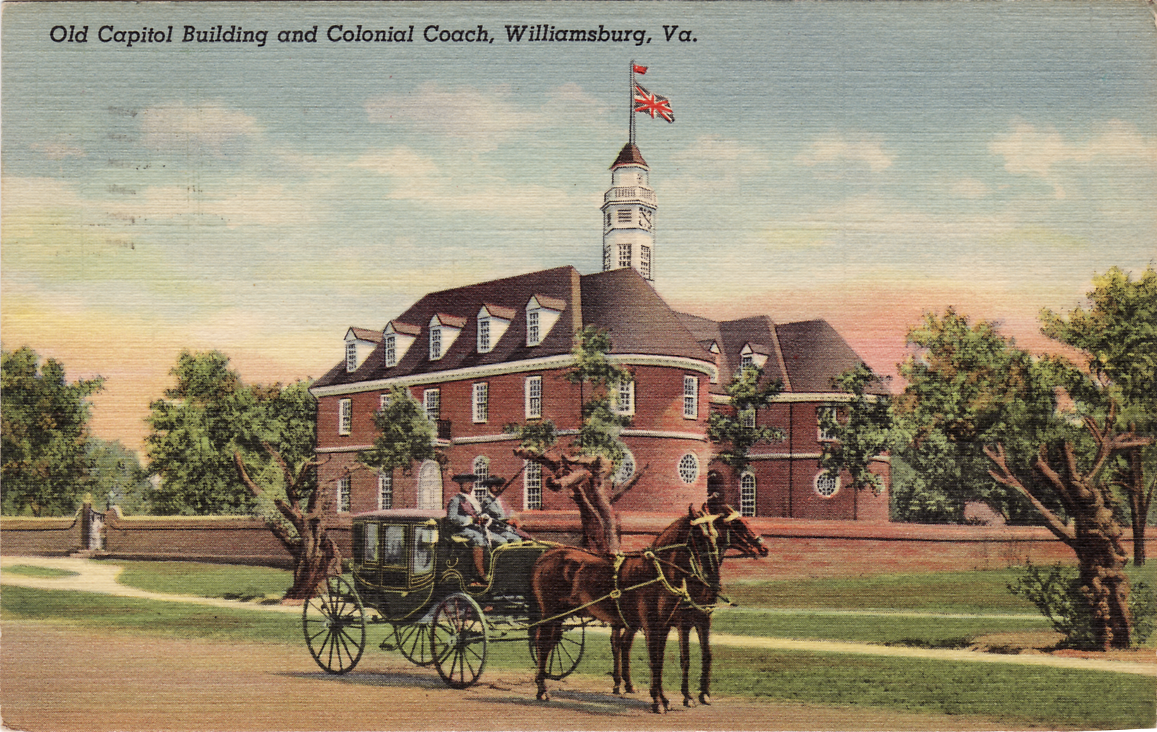 Postcard showing the Capitol Building in Williamsburg, Virginia.