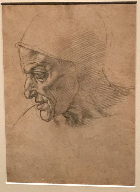Michelangelo Buonarroti - Study for the Head of the Cumeaen Sibyl (recto), 1508