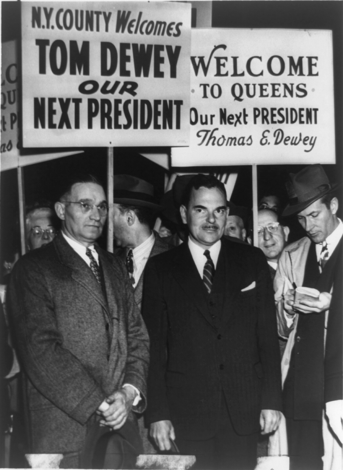 Candidates welcome Thomas E. Dewey with Thomas J. Curran, Manhattan GOP leader, during a campaign tour stop in New York City, 1948.