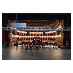 Bari, Teatro Piccinni in the morning of the concert, the stage is half set, the instruments are being delivered. The blue cast on the metal ramp is the day light coming from the loading bay . #leicaQ #leica #leicacamera #leicaqtyp116 #leicacraft #leica_ph