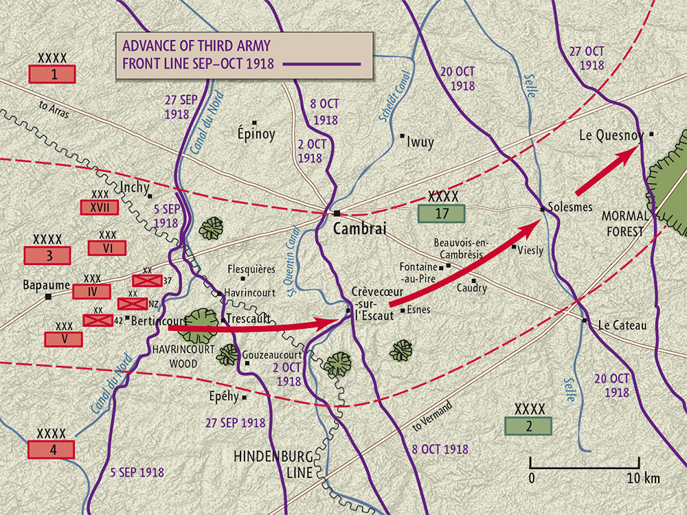 Map of the route taken by the British Third Army (between the red dotted lines) as it advanced across northern France during the Hundred Days Offensive - the rapid series of Allied victories in the final stages of the First World War. The advance of the New Zealand Division – part of the Third Army's IV Corps – is shown by the red arrow. The purple lines mark the front on specific dates in September and October 1918.