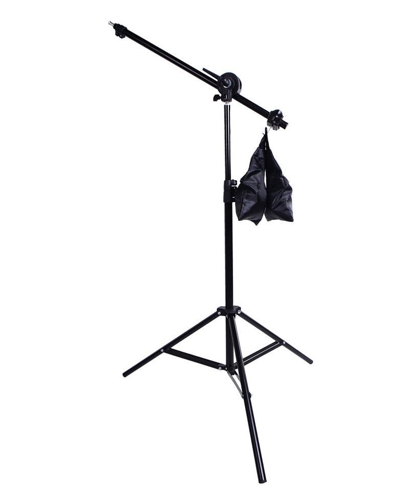 01 Tay boom đèn có khớp khủy gập ngửa, túi vải đối trọng và ngàm nhôm chữ U + 01 chân đèn 2m