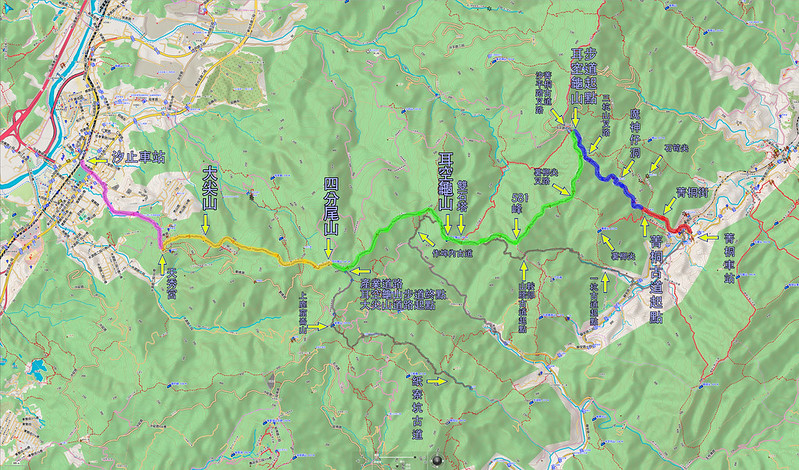 008、標示路線軌跡:2018.03.29 菁桐古道-耳空龜山-四分尾山-大尖山
