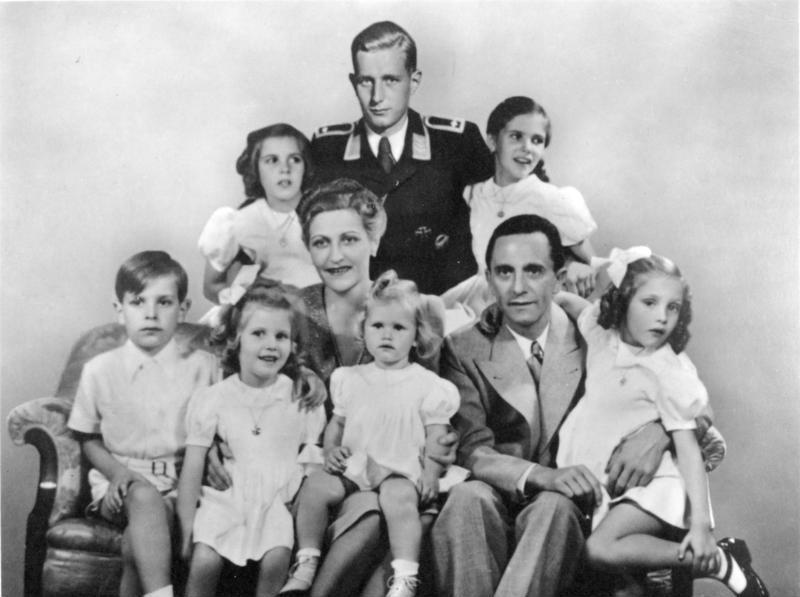 Goebbels Family portrait, dated January 1944. In the center are Magda Goebbels and Joseph Goebbels, with their six children Helga, Hildegard, Helmut, Hedwig, Holdine and Heidrun. Behind is Goebbels' stepson, Harald Quandt, in the uniform of a Flight Sergeant of the Air Force He was the sole family member to survive the war.