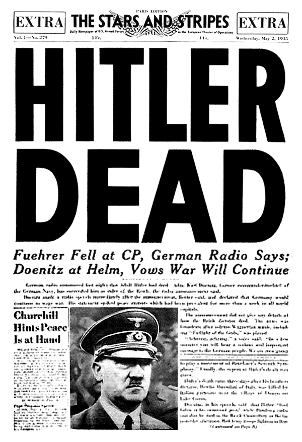 Front page of the U.S. Armed Forces newspaper, Stars and Stripes, published May 2, 1945, announcing the death of Adolf Hitler.