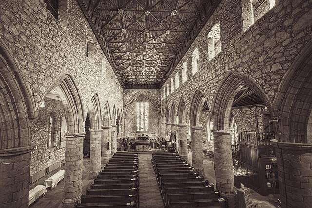 fine art black&white interior of the ancient, magnificent, St Machar's Cathedral, Old Aberdeen, Aberdeen, Scotland