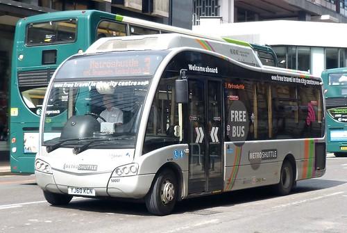 YJ60 KCN 'First Manchester' No. 59007. Optare Solo Hybrid M820SR on 'Dennis Basford's railsroadsrunways.blogspot.co.uk'