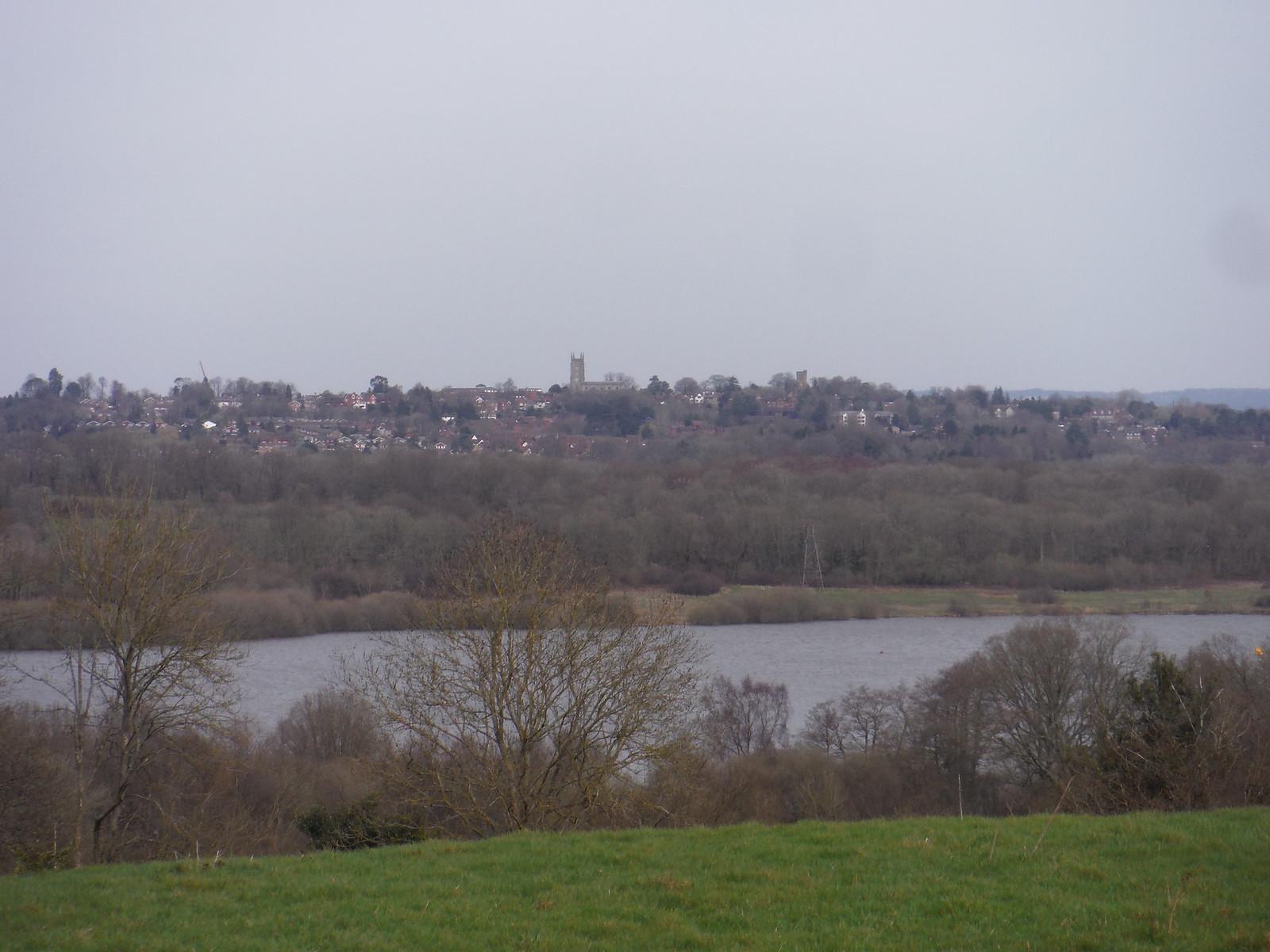 East Grinstead, from across Weir Wood Reservoir SWC Walk 27 - East Grinstead to Wivelsfield or Sheffield Park