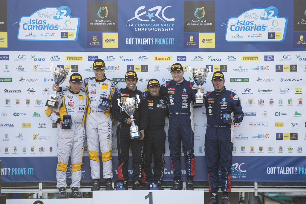 GAGO Diogo, RAMALHO Miguel, Peugeot 208 R2, portrait SESKS Martin, RENARS Francis, Adac Opel Rallye junior team, OPEL ADAM R2, portrait WAGNER Simon, WINTER Gerald, Sainteloc junior team, Peugeot 208 R2, portrait  podium ambiance, during the 2018 European Rally Championship ERC Rally Islas Canarias, El Corte Inglés,  from May 3 to 5, at Las Palmas, Spain - Photo Gregory Lenormand / DPPI