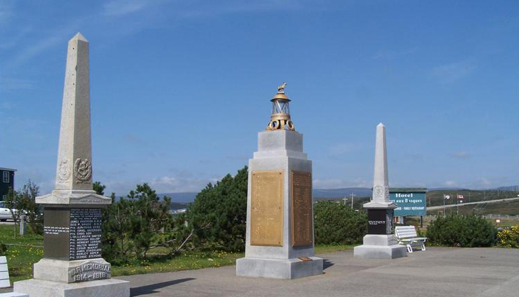 At the center of this photo is a monument to the victims of the S.S. Caribou sinking at the Royal Canadian Legion Memorial Park at the entrance to Port aux Basques. On either side are identical monuments, one for World War I and the other for World War II, inscribed with the names of those residents of Port aux Basques. who had perished in the respective wars.