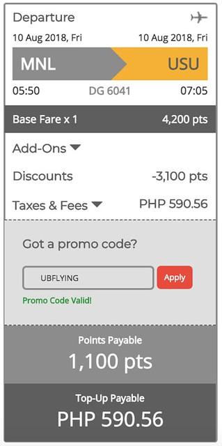 Manila to Coron GetGo Points Sale August 10, 2018