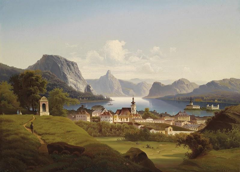 Johann Wilhelm Jankowsky - Blick auf Gmunden mit Schloss Orth