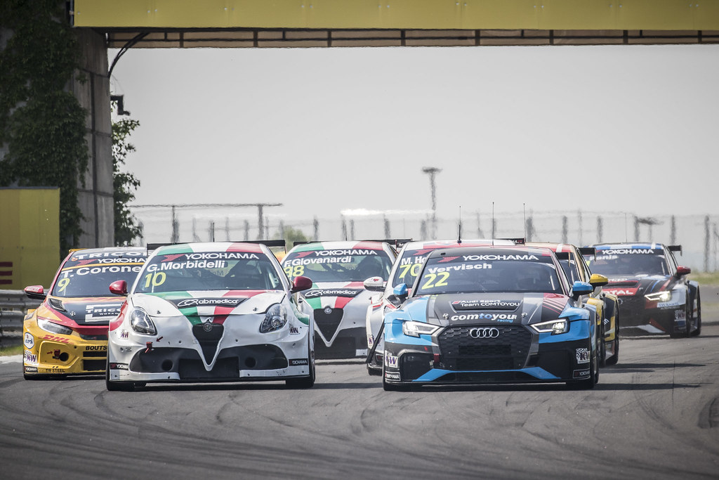 10 MORBIDELLI Gianni (ITA), Team Mulsanne, Alfa Romeo Giulietta TCR, action 22 VERVISCH Frederic (BEL), AUDI Sport Team COMTOYOU, Audi RS3 LMS, action during the 2018 FIA WTCR World Touring Car cup, Race of Hungary at hungaroring, Budapest from april 27 to 29 - Photo Gregory Lenormand / DPPI