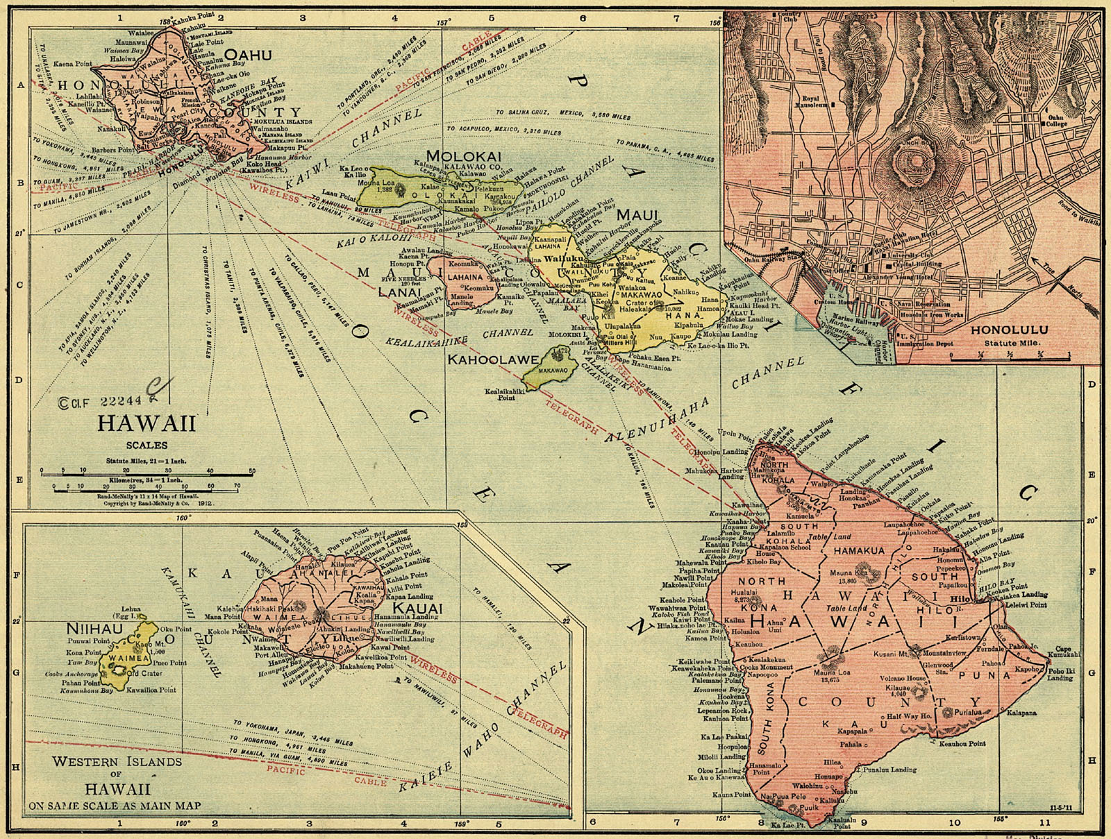Map of the Territory of Hawaii, 1912.