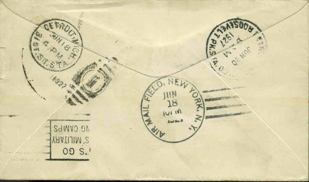 Rear of the above-pictured first day cover of Scott #C10 (Washington, D.C. postmark) with multiple backstamps.