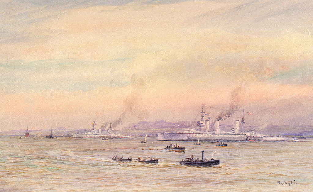 "HMS ""Lion"" and ""Princess Royal"" at anchor, probably in the Forth in early 1916 (circa 1916)"