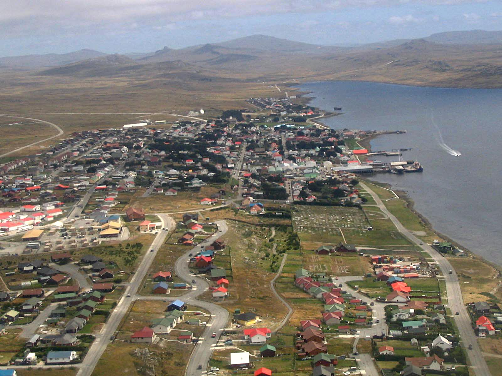 Aerial view of Stanley, Falkland Islands. Photo taken on February 7, 2005.