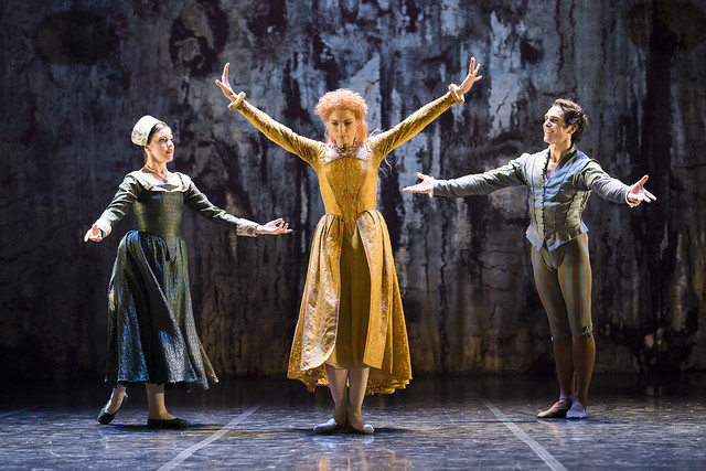 Katie Deacon, Zenaida Yanowsky and Yury Yanowsky in Elizabeth, The Royal Ballet © ROH, 2018. Photograph by Tristram Kenton