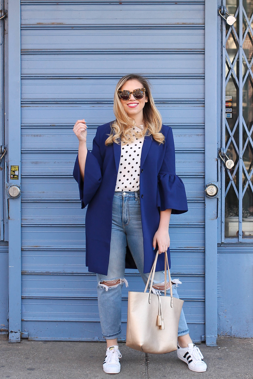 Spring Outfit Blue Bell Sleeve Jacket Polka Dot Tank Top American Eagle Mom Jeans Adidas Superstar Sneakers Living After Midnite Jackie Giardina Style Fashion Blogger