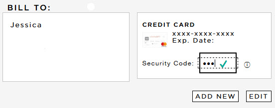 Correct LOVELOFT Card logo at checkout