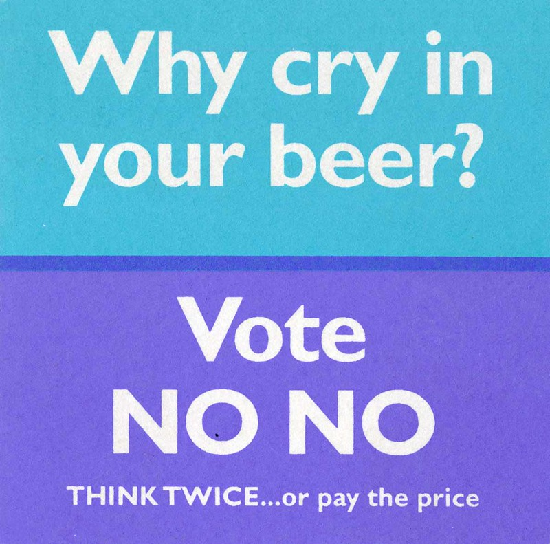 Think Twice beermat, 1997 referendum