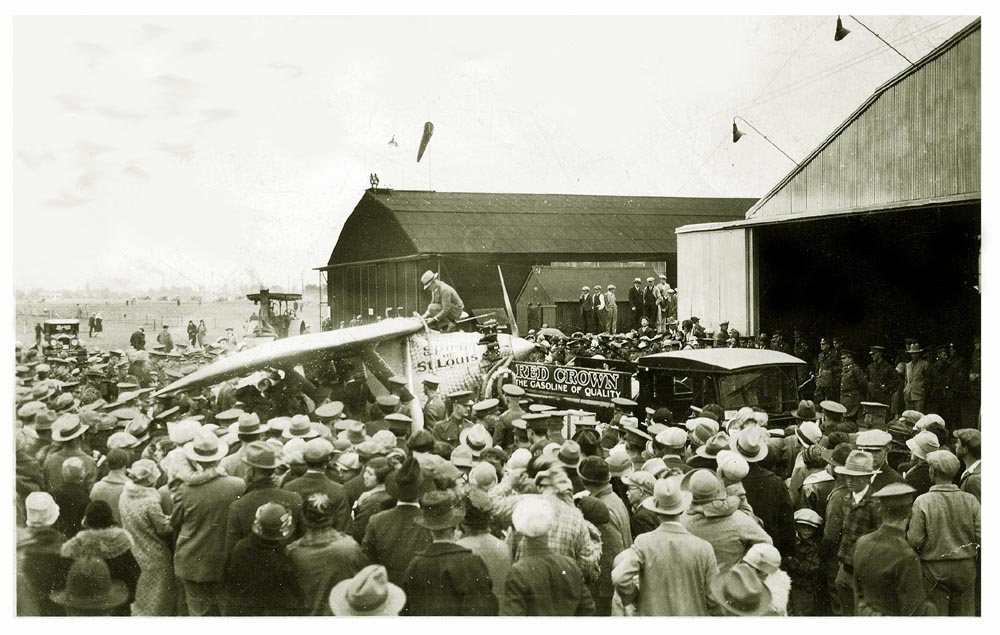 A huge crowd at Spokane, Washington, watch as the Spirit of St. Louis is refueled on September 12 or 13, 1927.