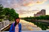 夕陽與河面 | 前鎮運河--翠亨橋