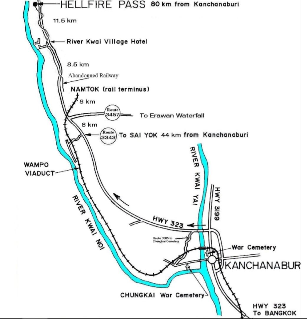 Map showing the town of Kanchanaburi, Thailand, and Hellfire Pass.