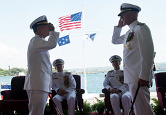 Adm. Scott Swift, right, and Adm. John C. Aquilino exchange salutes during the Pacific Fleet change of command ceremony, May 17. (U.S. Navy/MC3 Jessica O. Blackwell)