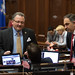 Rep. Tony D'Amelio and Dave Yaccarino discuss legislation with Rep. O'Dea during a session day in the House.
