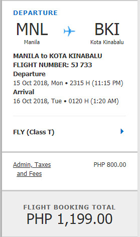 Cebu Pacific Sale Manila to Kota Kinabalu October 15, 2018