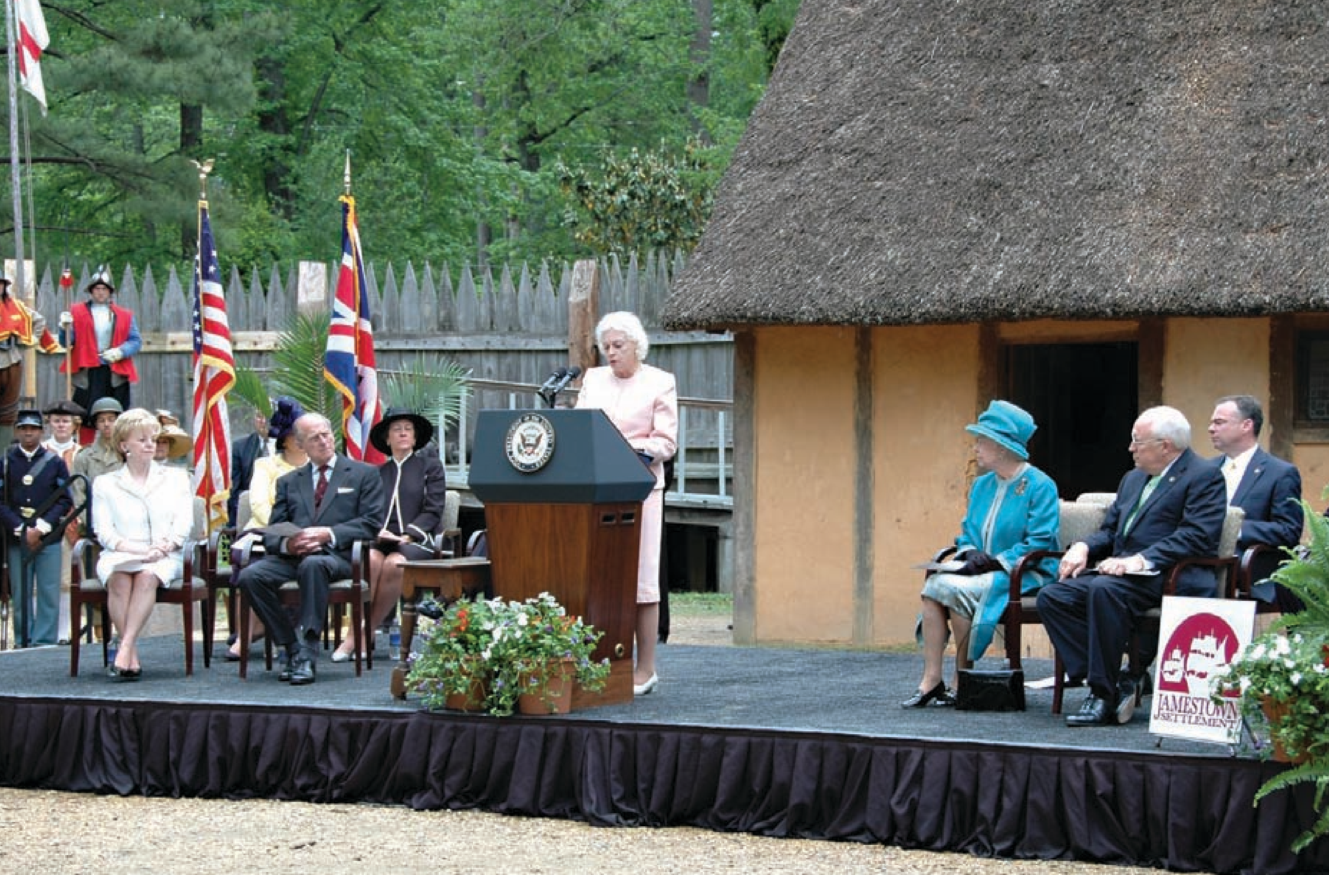U.S. Supreme Court Justice Sandra Day O'Connor introduces Queen Elizabeth II during Her Majesty's May 2007 visit to Jamestown Settlement.