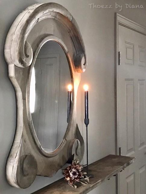 Ossenoog spiegel kandelaar
