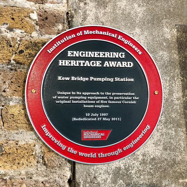 Photo of Kew Bridge Pumping Station grey plaque