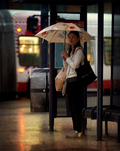 Umbrella and Bus Stop