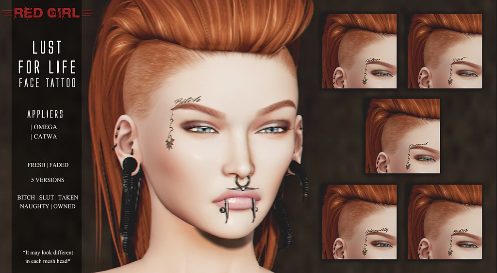 [RED GIRL] Lust for Life Face Tattoo
