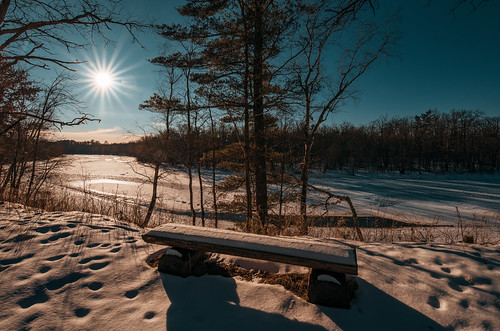 kettleriver minnesota saintcroixstatepark stcroixstatepark bench frozen ice river snow sun sunset trees winter pinecity unitedstates us